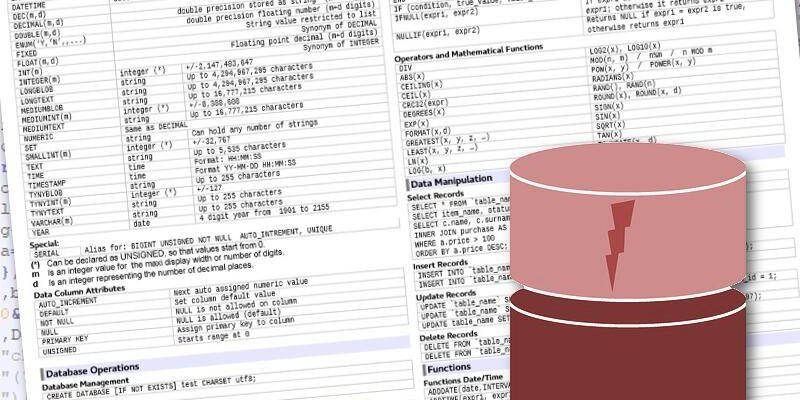 Cheatsheet per MySQL 5.6