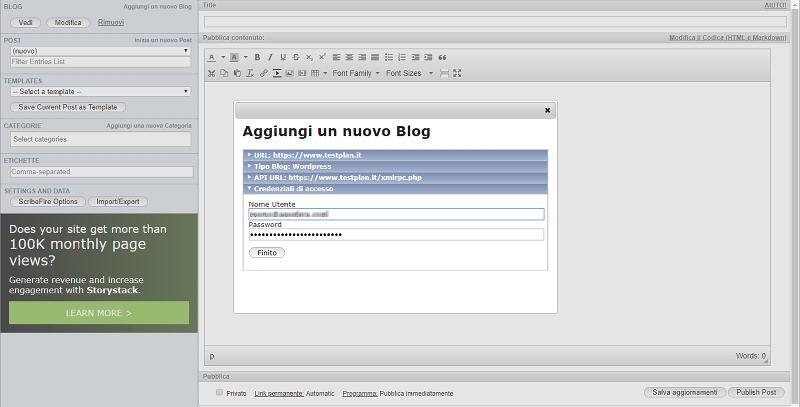 scribefire credenziali per un nuovo blog